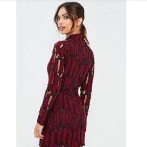 Missguided Burgundy & Black lace sheath dress NWT